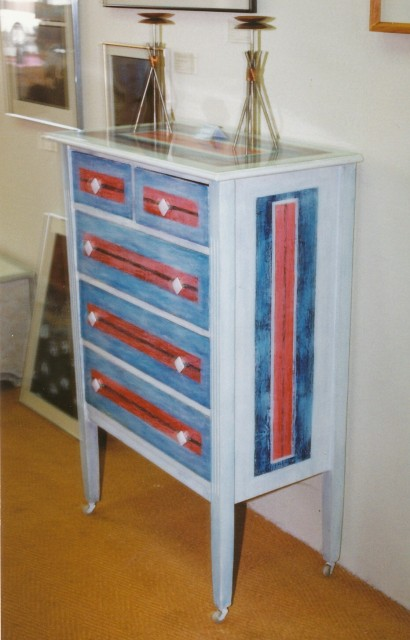 David W. Douthat custom painted chest of drawers 1987 ok