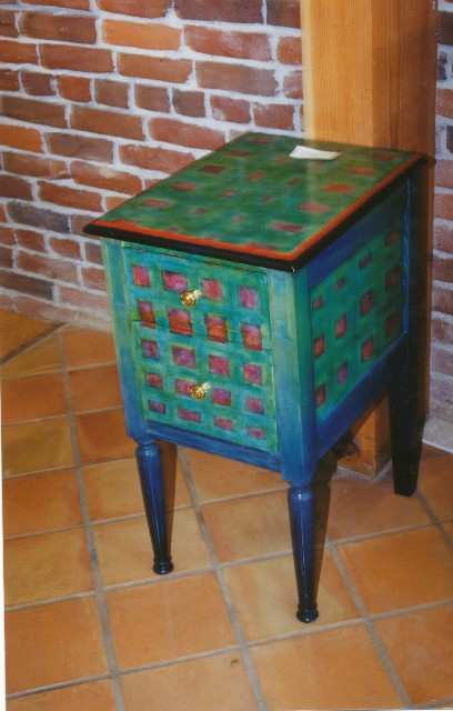 David W. Douthat custom painted end table1986 ok