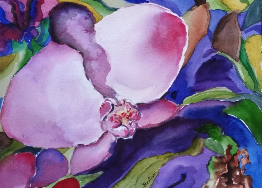 Orchid in Kauai, watercolor, by Jennifer Bentson