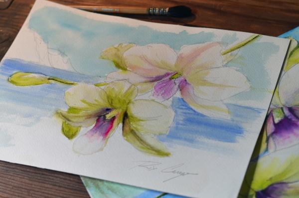 Jennifer   Orchids Watercolor by Rix Cerezo
