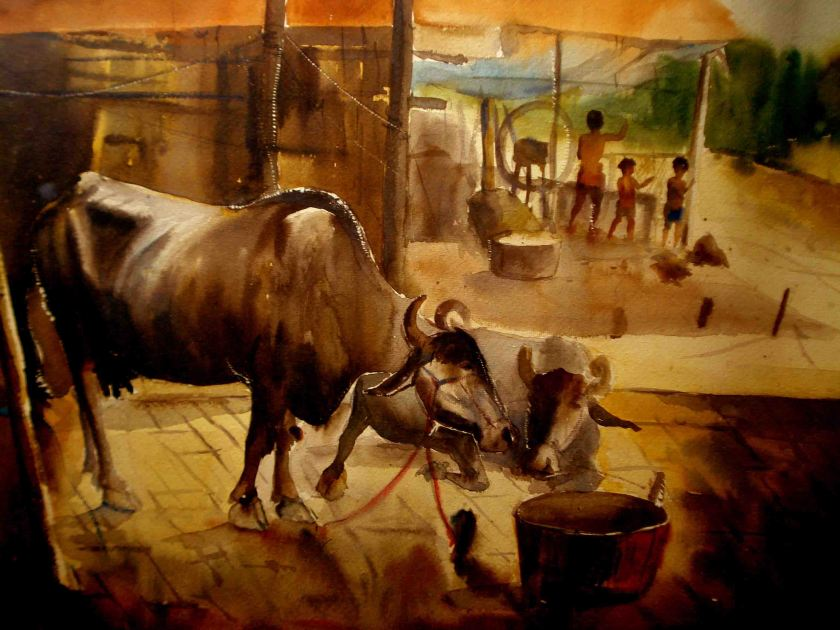 Satyajit Chanda  13 Title-Garia Cow Shed Medium- Water Colour on  Paper Size-30x20  (2)