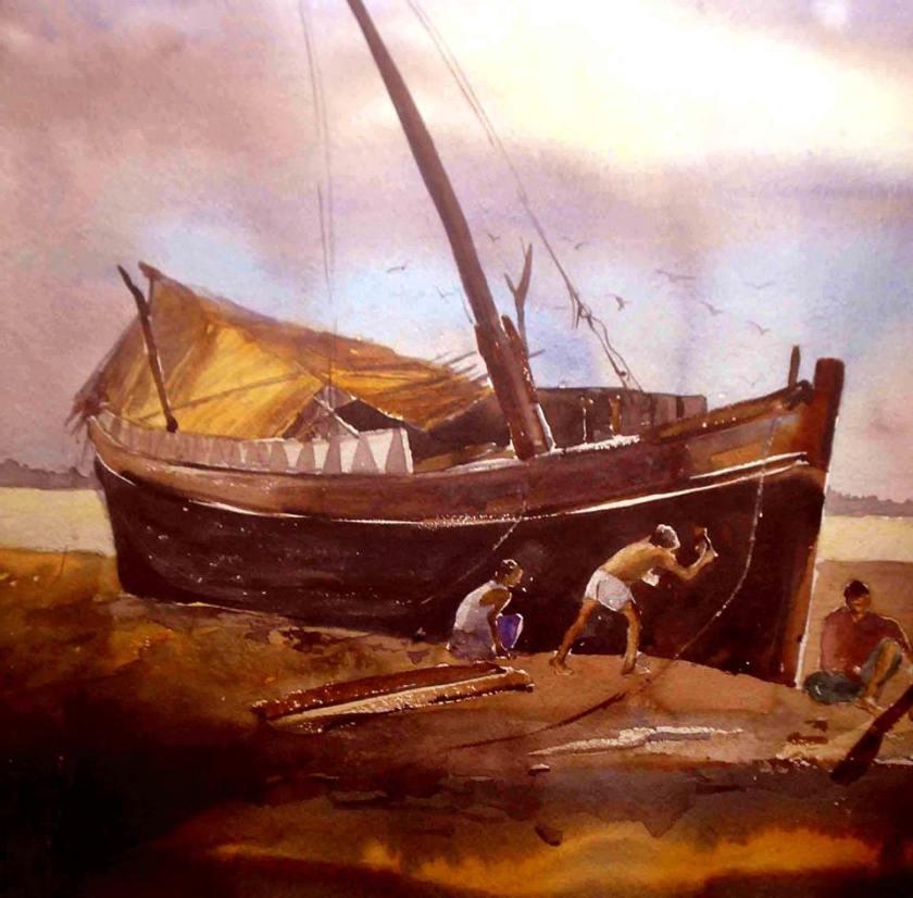 Satyajit Chanda 21 Title-River SideMedium- Water Colour on  Paper Size-30x20  (2)