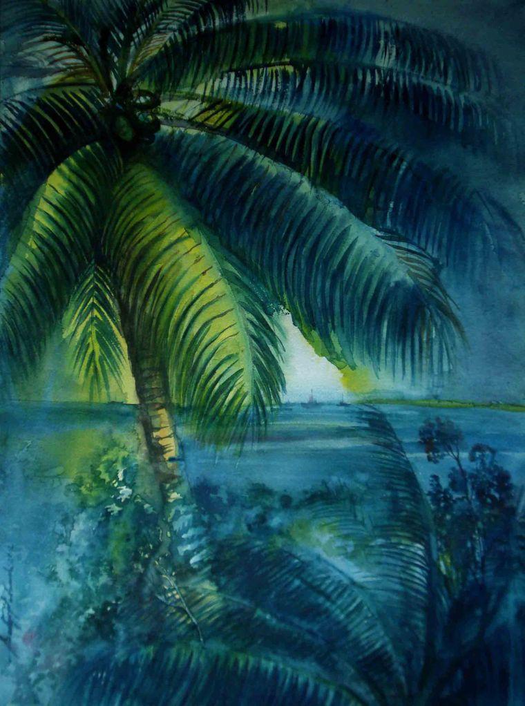Satyajit Chanda 31 Title- Coconut Tree-2 Medium-Water  Colour Size-20''x30' (2)