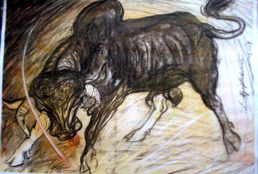 Satyajit Chanda 42 Title-bull  Size-30''x20'' Medium-Charcoal on    paper (2)