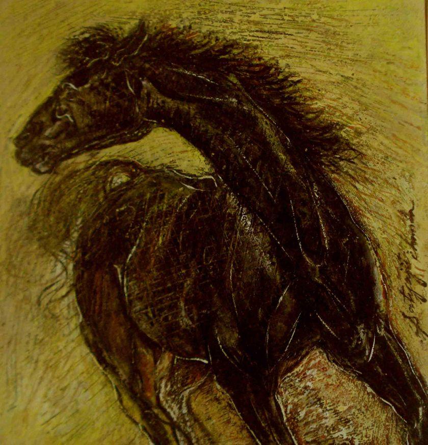 Satyajit Chanda 43 Title- Horse Size-8''x6'' Medium-Mixmedia on   paper (2)
