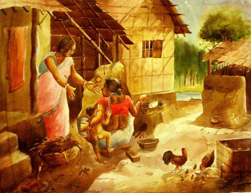 Satyajit Chanda 46 Title-Mother Child RelationMedium-Water  Colour Size-20''x10'' (2)