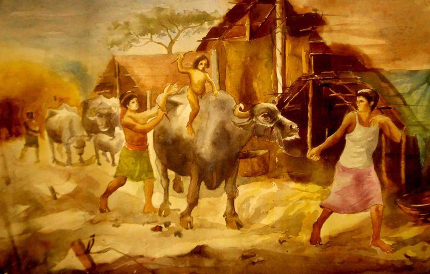 Satyajit chanda 47 Title-Garia CowshedMedium-Water  Colour Size-8''x20'' (2)